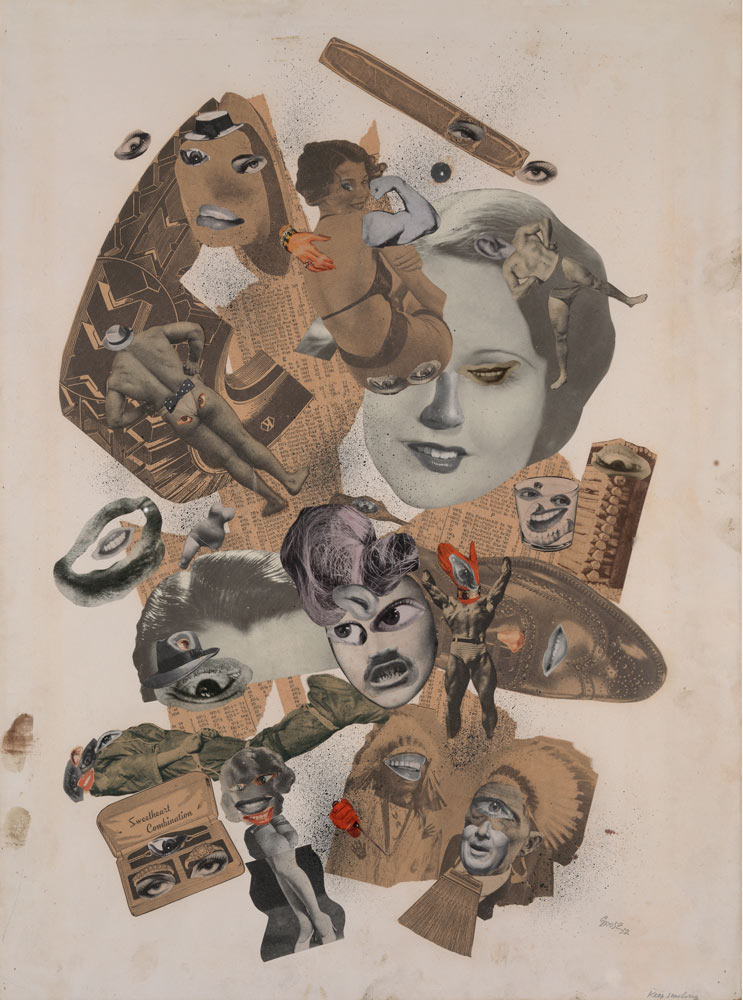 <p>George Grosz, <em>Keep smiling</em> (Sigue sonriendo), 1932. <em>Collage</em> de materiales impresos y tinta china sobre cartón © George Grosz, VEGAP, Barcelona, 2017</p> - Construyendo nuevos mundos - CaixaForum Barcelona